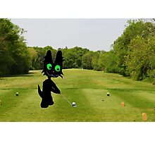 Cat Teeing Off Photographic Print