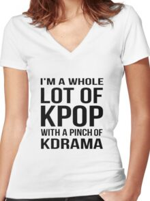A LOT OF KPOP - WHITE Women's Fitted V-Neck T-Shirt