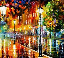 Street Of Illusions — Buy Now Link - www.etsy.com/listing/226633113 by Leonid  Afremov