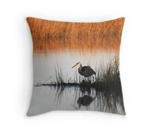 Heron in the morning Throw Pillow