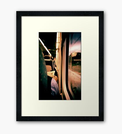 Man on train - Lomo LCA xpro lomographic analog 35mm film Framed Print