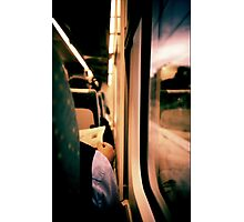 Man on train - Lomo LCA xpro lomographic analog 35mm film Photographic Print