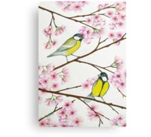 Tits on sakura tree Canvas Print