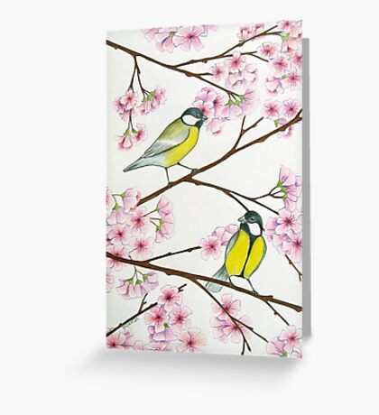 Tits on sakura tree Greeting Card