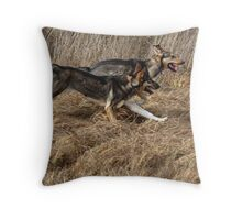 Dog siblings run together Throw Pillow