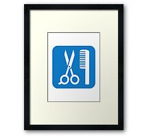 Scissors comb icon Framed Print