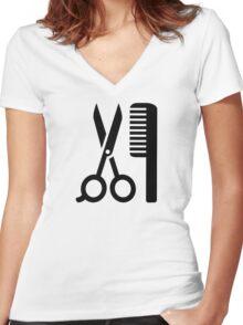 Comb scissors Women's Fitted V-Neck T-Shirt