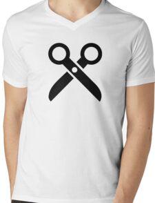 Scissors logo Mens V-Neck T-Shirt