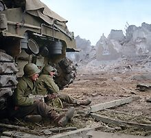 Two U.S. soldiers Take Cover Behind M-4 Sherman by jenoscolor