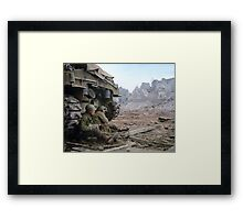 Two U.S. soldiers Take Cover Behind M-4 Sherman Framed Print