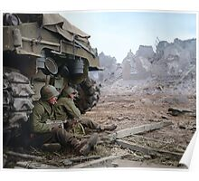 Two U.S. soldiers Take Cover Behind M-4 Sherman Poster