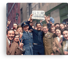 New Yorkers Celebrate V-E Day Metal Print