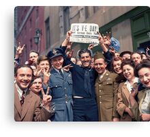 New Yorkers Celebrate V-E Day Canvas Print