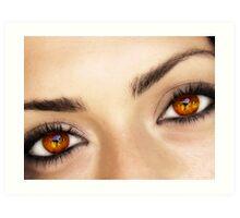 a fire in her eyes Art Print