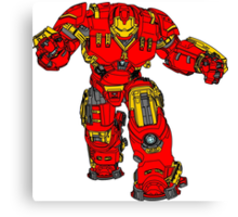 Tony Stark's Hulkbuster Suit Armour , Black outline with colour fill Canvas Print