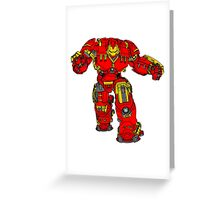Tony Stark's Hulkbuster Suit Armour , Black outline with colour fill Greeting Card