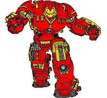 Tony Stark's Hulkbuster Suit Armour , Black outline with colour fill Photographic Print