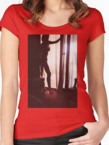 Girl looking out of the window - analog 35mm c41 film RA4 photo Women's Fitted Scoop T-Shirt