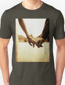 Bride and groom holding hands in sepia - analog 35mm black and white film photo T-Shirt
