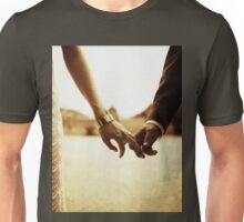 Bride and groom holding hands in sepia - analog 35mm black and white film photo Unisex T-Shirt