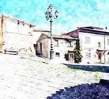 Agropoli: square building and lamp post by Giuseppe Cocco