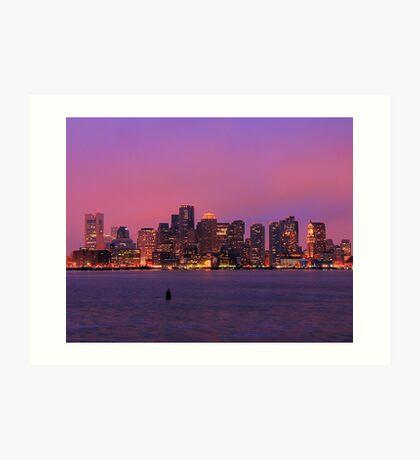 December Evening Boston Skyline Art Print