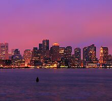 December Evening Boston Skyline by Mitchell Grosky