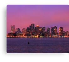 December Evening Boston Skyline Canvas Print