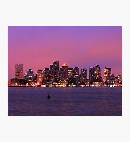 December Evening Boston Skyline Photographic Print