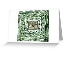 Green linocut Hand Pulled Inchie Border Print With Oak Tree Inchie Drawing Greeting Card