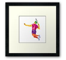 Badminton Player Jump Smash Low Polygon Framed Print