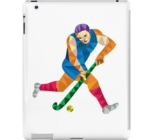 Field Hockey Player Running With Stick Low Polygon iPad Case/Skin