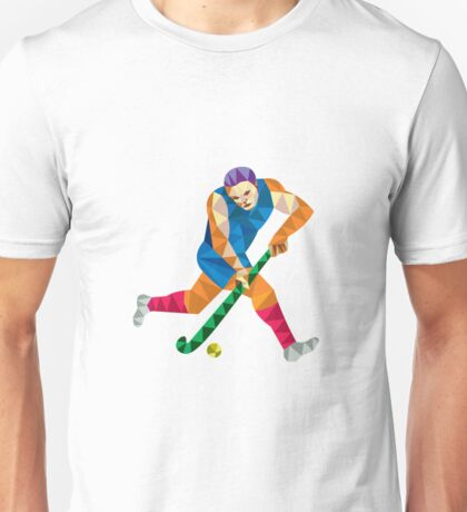 Field Hockey Player Running With Stick Low Polygon Unisex T-Shirt