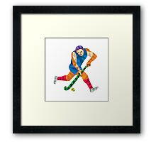 Field Hockey Player Running With Stick Low Polygon Framed Print