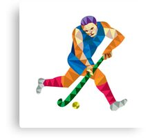 Field Hockey Player Running With Stick Low Polygon Canvas Print