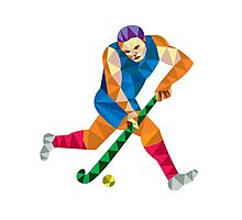 Field Hockey Player Running With Stick Low Polygon Photographic Print