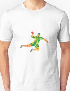 Handball Player Jumping Throwing Ball Low Polygon T-Shirt