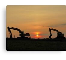 Diggers At Sunset Canvas Print
