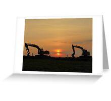 Diggers At Sunset Greeting Card