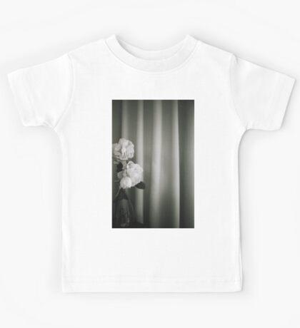 Analog silver gelatin 35mm film photo of white rose flowers in vase Kids Tee