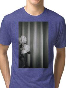 Analog silver gelatin 35mm film photo of white rose flowers in vase Tri-blend T-Shirt
