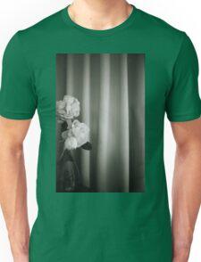 Analog silver gelatin 35mm film photo of white rose flowers in vase Unisex T-Shirt