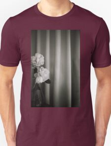 Analog silver gelatin 35mm film photo of white rose flowers in vase T-Shirt