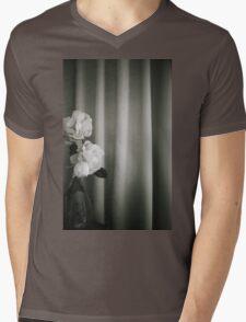 Analog silver gelatin 35mm film photo of white rose flowers in vase Mens V-Neck T-Shirt