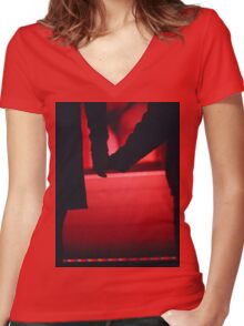 Couple walking romantically hand in hand in silhouette analog photo Women's Fitted V-Neck T-Shirt