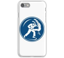 Judo Combatants Throw Circle Icon iPhone Case/Skin