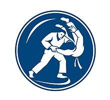 Judo Combatants Throw Circle Icon by patrimonio