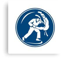 Judo Combatants Throw Circle Icon Canvas Print