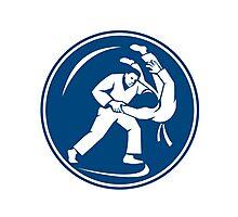Judo Combatants Throw Circle Icon Photographic Print