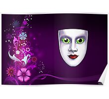 Green Eyed Mask Floral Print Poster